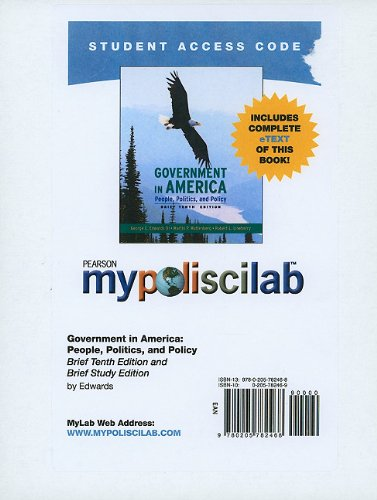 MyPoliSciLab with Pearson eText -- Standalone Access Card -- for      Government in America, Brief (Mypoliscilab (Access Codes))