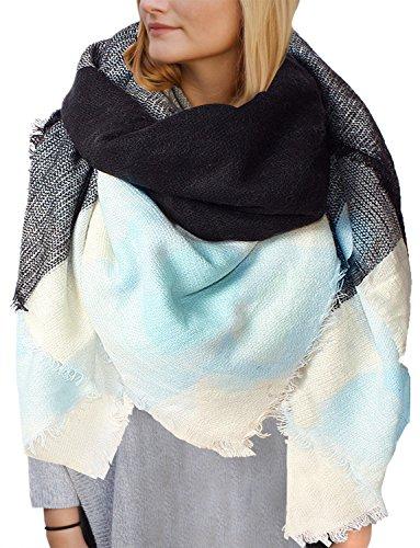 Yidarton Sciarpa Donna Inverno Donne Inverno Di Grandi Simensioni Signore Sciarpa Di Cachemire Lattice Grande Sciarpa (Blu)