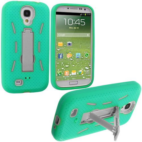 Accessory Planet(Tm) Mint Green / White Heavy Duty Hybrid Hard/Soft Silicone Case Cover With Stand Accessory For Samsung Galaxy S4