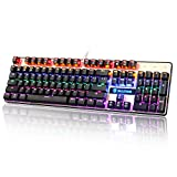 Sades K10 USB Mechanical Gaming Keyboard Colorful LED Backlight Backlit Balck With Blue Switches