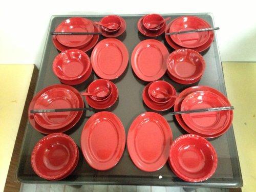 52-Piece Melamine Dinnerware Set 2 Tone Japanese Red/Black (Fda Compliance)