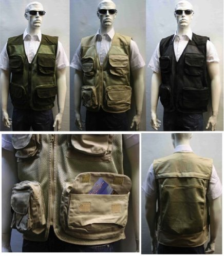 Adults Multipocket Shooting Hunting Mesh Fishing Vest Gilet (XXXL, Beige)