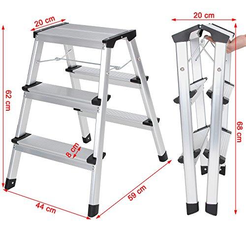 preiswert songmics alu trittleiter klappleiter leiter haushaltsleiter beidseitig 2 x 3 stufen. Black Bedroom Furniture Sets. Home Design Ideas