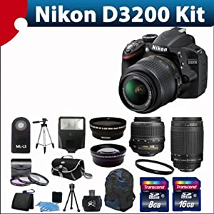 Nikon D3200 24.2 Mp Cmos Digital SLR with 18-55mm F/3.5-5.6 Af-s Dx Vr Nikkor Zoom Lens + Nikon Zoom Telephoto 70-300mm F/4-5.6g Zoom-nikkor Autofocus Lens + 52mm 2x Professional Lens +High Definition 52mm Wide Angle Lens + Auto Flash + Uv Filter Kit withwith 24GB Complete Deluxe Accessory Bundle