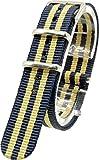 [2PiS] ( ダブルネイビー・ベージュ・センターネイビー : 18mm ) NATO 腕時計ベルト ナイロン 替えバンド ストラップ 交換マニュアル付 51-1-18