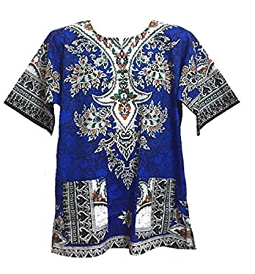 Dashiki Shirt African Caftan Festival Shirt Unisex Blue Medium Size White Collar