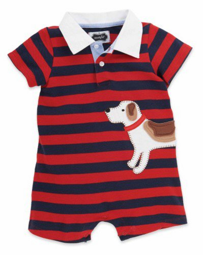 Mud Pie Boy'S Puppy Polo One-Piece (0-6 Months With Bracelet For Mom) front-577756