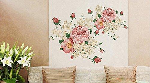 Ufengke® nobiltà fiore di peonia adesivi murali, camera da letto ...