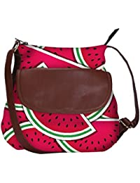 Snoogg Watermelon Wedge Background Card In Vector Format Casual Spacious MultiPurpose Sling Bag Carry Around