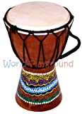 Set of 2 Small Djembe Drum Bongo Percussion Drums (Height: 15cm)