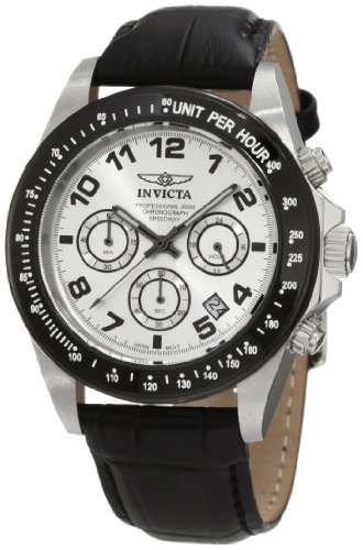 Invicta Men's Speedway Chronograph Watch 10708 with White Dial and Black Leather Strap