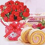 【遅れてごめんね 母の日ギフト2014】赤カーネーション5号鉢と苺ロールケーキのセット