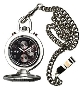 Zippo Dress Pocket Watch with Black Dial and Stainless Steel Chain and Buckle