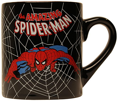 Silver Buffalo MC3232 Marvel Comics Spider-Man Swings Black Web, Ceramic Mug, 14 Ounces, Black