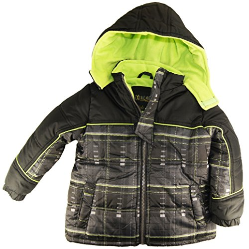 Ixtreme Little Boys 4-7 Plaid Puffer Hooded Winter Jacket, Lime, 4 front-873227