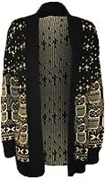 WearAll - Chouette imprimé gilet top tricoté ouvert avec manches longues - Hauts - Femmes - Tailles 36 à 42