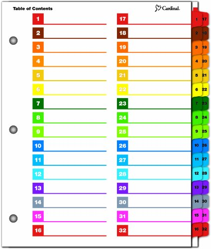 10 tab divider template - cardinal by tops products onestep printable table of
