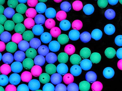 50pcs-6mm-czech-glass-round-pressed-beads-estrela-neon-uv-active-dark-neon-mix