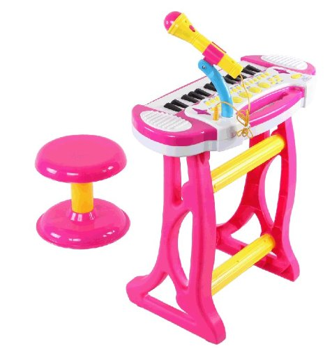 Big Dragonfly High Quality 37 Keys Pink Electric Piano Toy Fun Karaoke Music Keyboard Set For Children With Microphone And Chair Gift Box Package