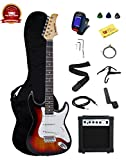 Barcelona Beginner Series Double Cutaway Electric Guitar Bundle with 10-Watt Amp, Gig Bag, Instrument Cable, Tremolo Bar, Strap, Strings, Picks, and Polishing Cloth - Sunburst