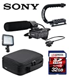 Sony XLRK1M XLR-K1M Balanced Audio Adapter for Alpha Camera (Black) + Sony Case + ForeGrip Action Handle + LED Light + 32GB Class 10 Deluxe Kit