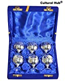 J92-400-0009 Engraved Silver Plated Brass Shot Glasses Set of 6 Vintage Miniature Goblets, Silver Plated Cordials with Original Velvet Box