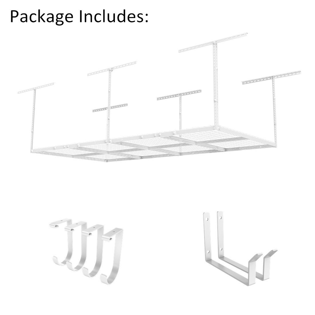 "Fleximounts 4x8 Overhead Garage Rack with Add-on Hooks Set Heavy Duty Height Adjustable Ceiling Racks (22-40"" Ceiling Dropdown), White"