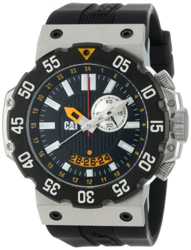 8c92e1f8508 CAT Men s D314521124 Deep Ocean Chrono Black Analog Dial and Stainless  Steel Case with Black Rubber Strap Watch