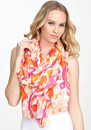 bebe Ikat Print Scarf Accessories Pink Coral-1sz at Amazon Women's