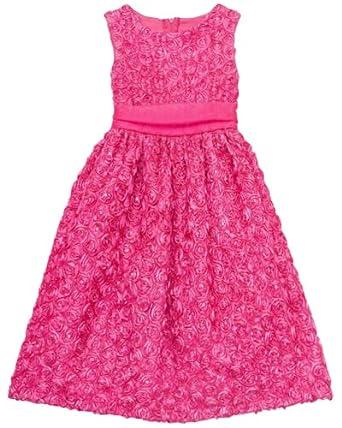 Rare Editions Girls 7-16 Rosette Soutach Dress (8, Fuchsia)
