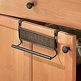 mDesign Over-the-Cabinet Kitchen Dish Towel Bar Holder - Bronze