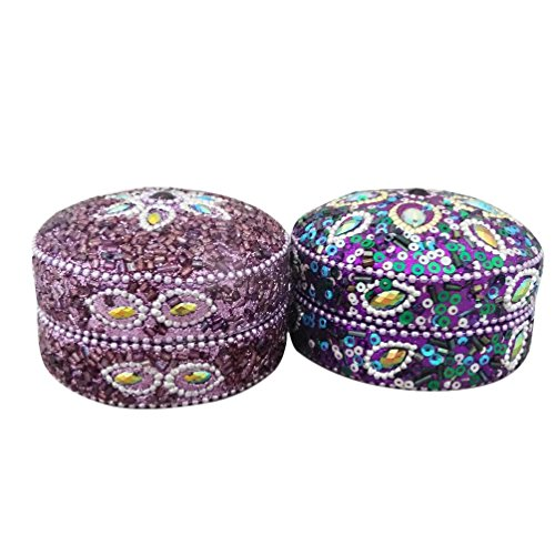 Handmade Jewelry Box Lac Beaded Indian Gift Home Decor Antique Pill Box Table Top Vintage Style Set Of 2 Pcs Decorative...