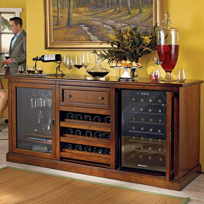 Siena 28 Bottle Dual Zone Wine Refrigerator Finish: Rich Walnut