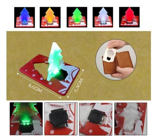 Komingo Pocket Led Lamp Mini Led Xmas Christmas Tree Light Folding Card Put In Wallet As Christmas Gift Red+Blue+Green 3-Pc Pack