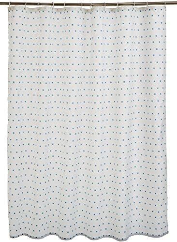 AmazonBasics - Tenda da doccia in tessuto con motivo stampato ad quadretti, 180 x 180 cm, colore: blu