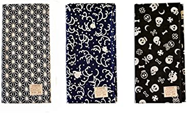 Made in Japan Komon Tenugui Towel 3 type setFlax Leaf Namichidori Skull