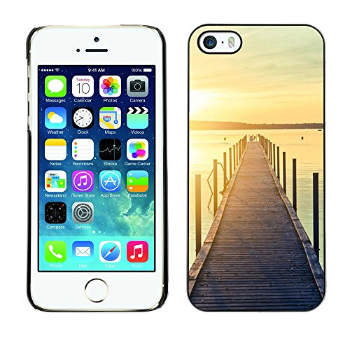 For Apple iPhone 5 / iPhone 5S Case , Jetty Dock Beach Sunset Lake - Colorful Pattern Hard Back Snap-On Cover Case Skin Mobile Phone Shell Bumper