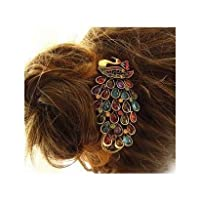 Lovely Vintage Jewelry Crystal Peacock Hair Clip by World Pride