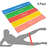 Exercise Bands Loop Wisdompro 5 Set 12 x 2 Exercise Resistance Bands Equipcment for Legs Training Workouts including 5 Different Strength Levels Light Medium Heavy X-Heavy XX-Heavy