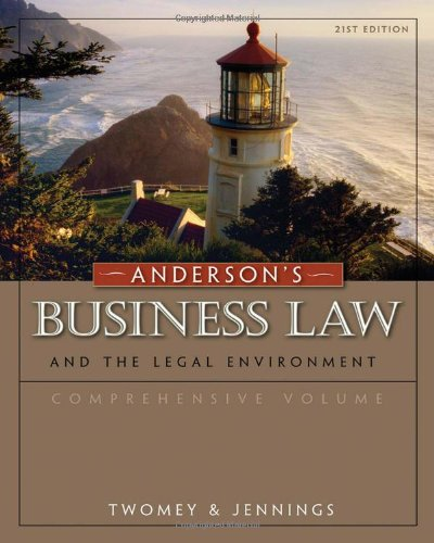 Anderson'S Business Law And The Legal Environment, Comprehensive Volume front-406812