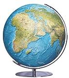 Columbus DUORAMA Leuchtglobus: Tischmodell, TING-fähig, handkaschiertes Kartenbild auf Acrylglaskugel, Kugeldurchmesser 34 cm, Armatur aus Chrom hochglänzend