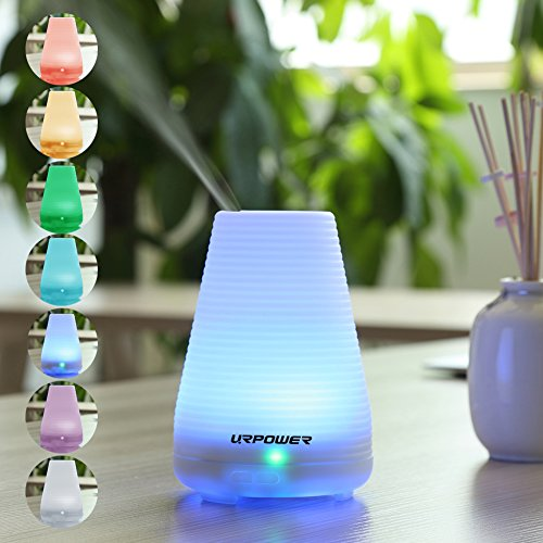 Essential Oil Diffuser,URPOWER® Aromatherapy Diffuser and Humidifier with Timing Settings,7 Color LED Nightlight,Zero Noise,Waterless Auto Off,100ML Capacity – Portable for Baby Room,Home, Bedroom, Office, Spa,Yoga (Latest Version)