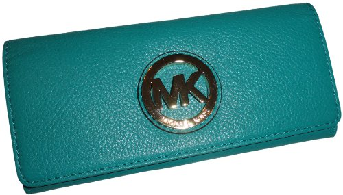 Women'S Michael Kors Fulton Flap Continental Leather Wallet Aqua