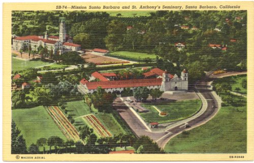 1940s Vintage Postcard - Mission Santa Barbara