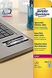 Avery Zweckform L6011-20 Typenschild-Etiketten, 63,5 x 29,6 mm, wetterfest, 20 Blatt/540 Etiketten, silber
