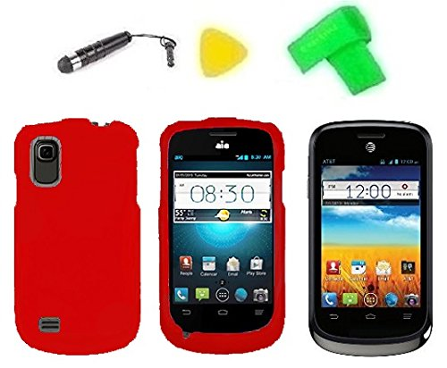 Phone Cover Case Cell Phone Accessory + Extreme Band + Stylus Pen + Lcd Screen Protector + Yellow Pry Tool For At&T Zte Avail 2 Ii Go Phone Z992 / Zte Prelude Z993 (Red)