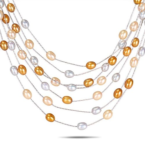 Brass Freshwater Multi-Yellow Rice Pearl 7-Row Necklace with Chain (17 in) (6-6.5mm)