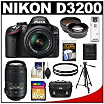 Nikon D3200 Digital SLR Camera & 18-55mm G VR DX AF-S Zoom Lens (Black) + 55-300mm VR Lens + 16GB Card + Case + Filters + Tripod + Telephoto & Wide-Angle Lens Kit
