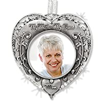 Mothers Heart Vintage Photo Frame Hanging Ornament with Rhinestone Jewels Filigree Border with the Words My Mother My Friend and a Heart with Mom Written in the Center Metal 3 Inch