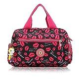 Women Nylon Flower Handbags Casual Mom Bags Shoulder Bags Crossbody Bag (Red)